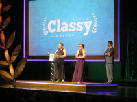 World Vets CEO and founder Dr Cathy King gives acceptance speech at Classy Awards along with co-founder Susan Paseman